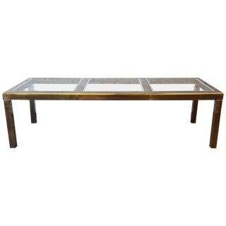 Mastercraft Brass and Glass Extension Dining Table For Sale