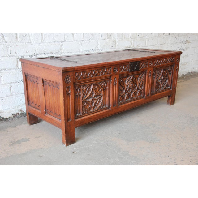 Antique Belgian Gothic Revival Carved Oak Blanket Chest, Circa 1900 For Sale - Image 4 of 13