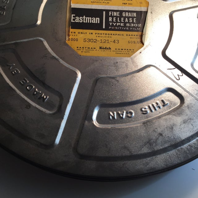 Wonderful vintage artifact for decoration or storage. Oversized metal film can for 35 mm movie film. Some minor wear on...