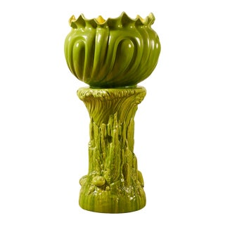 Unusual Bi-Color English Majolica Planter on Stand For Sale