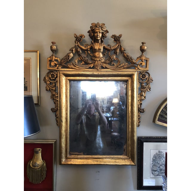 Early 19th Century Antique Neo Classical Carved Wood Italian Gilt Mirror For Sale - Image 12 of 12