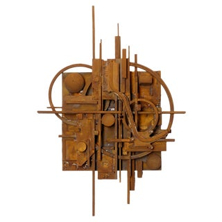 Lawrence Saul Heller Rust #29 Construction Wall Sculpture For Sale
