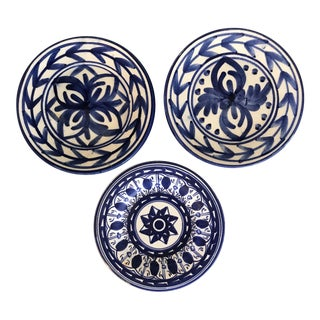 Hand Painted Blue & White Small Wall Plates - Set of 3 For Sale