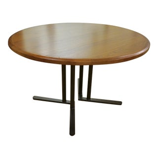Modern Pastel Round Oak Laminate Dining Table For Sale