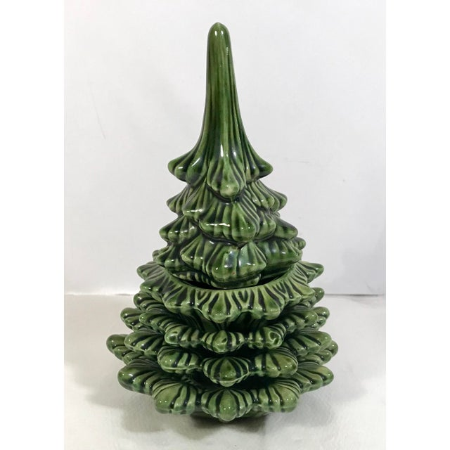 Vintage Ceramic Christmas Tree Smoking Set For Sale - Image 4 of 11