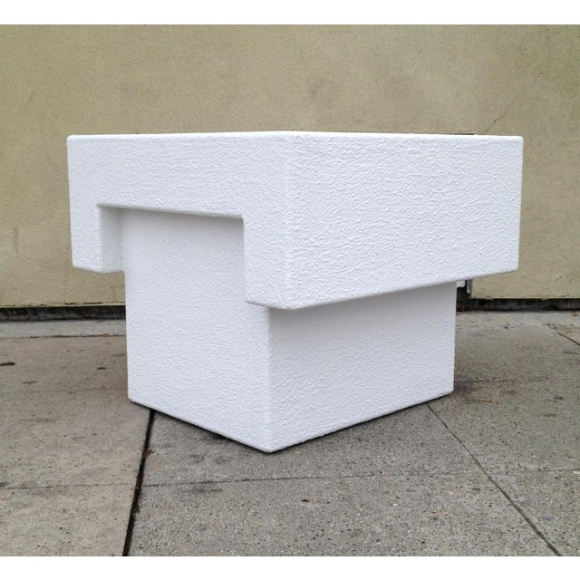 Architectonic Textured Plaster Side Tables, Pair - Image 2 of 7