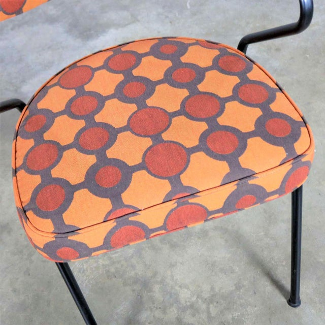 Mid Century Modern Black Bent Steel Tube Armchair With New Orange Upholstery For Sale - Image 11 of 13