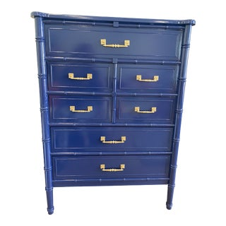 Palm Beach Chic Faux Bamboo Tall Dresser Lacquered in Navy Blue With Gold Handles For Sale