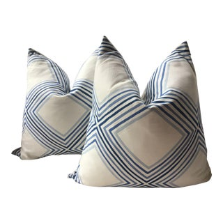 """Schumacher """"Square Dance """" Blue and White Down Filled Pillows - a Pair For Sale"""