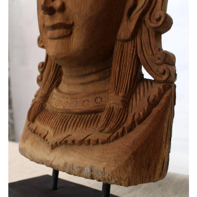 Brown Fine Carved Teak Mask on Stand Sculpture of Buddha For Sale - Image 8 of 11
