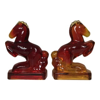 Vintage Art Deco Glass Rearing Horses Statue Bookends - a Pair For Sale