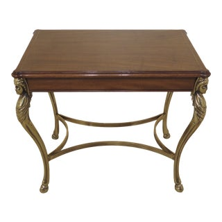 1990s Regency Karges Brass & Walnut Occasional Table For Sale