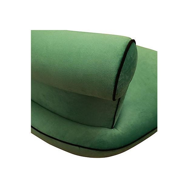 Fabric Vintage Vladimir Kagan-Style Hollywood Regency Kelly Green Curved Settee For Sale - Image 7 of 8