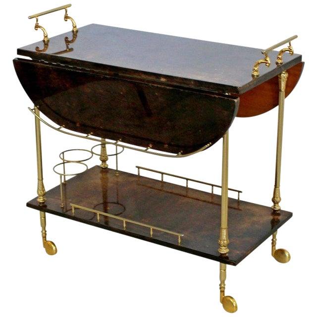 1950s Hollywood Regency Aldo Tura Goatskin Lacquered Brass Bar Cart For Sale