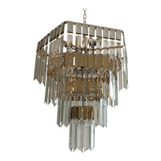 1980s Brass and Glass Chandelier For Sale
