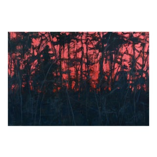 """""""Red Sun at Night"""" Sunset Painting"""