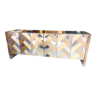 Ello Chevron Brass and Chrome Mirrored Credenza For Sale