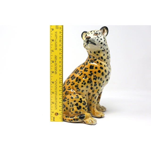 Vintage Italian Cheetah Hand-Painted Majolica Ceramic Leopard Figure For Sale - Image 11 of 12