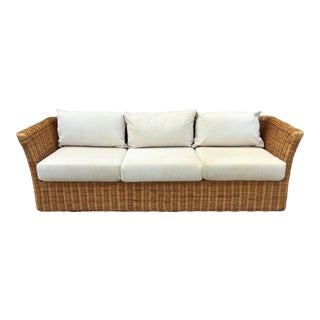 Boho Chic Rattan Tuxedo Sofa For Sale