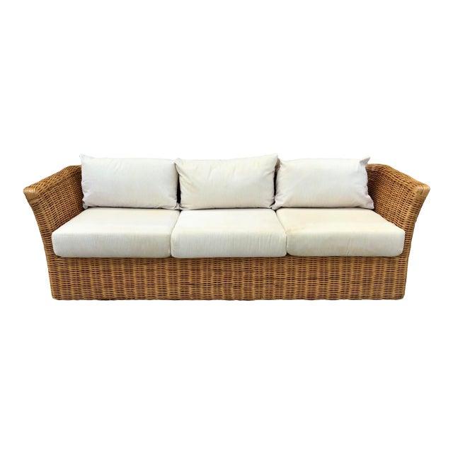 Boho Chic Rattan Tuxedo Sofa For Sale