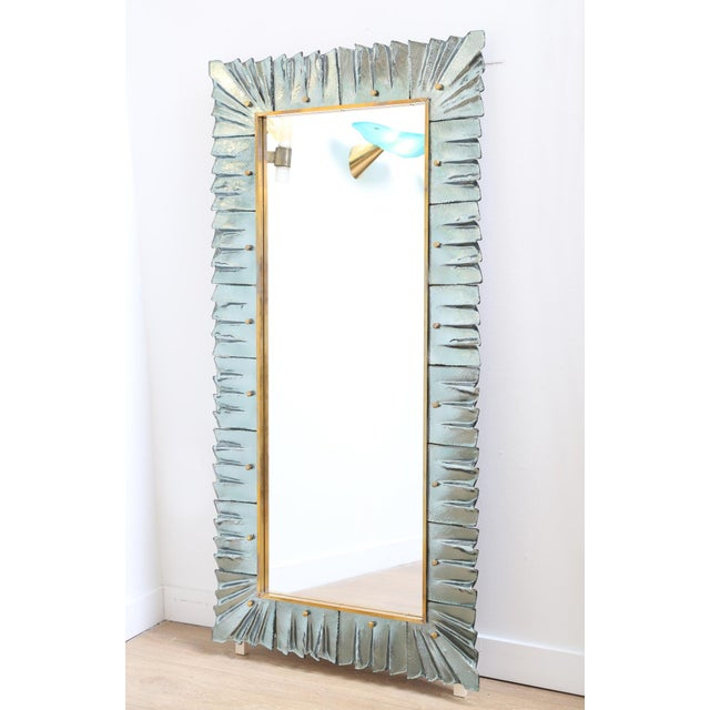 2000 - 2009 Large Modern Aqua Green Murano Glass Framed Mirror For Sale - Image 5 of 7