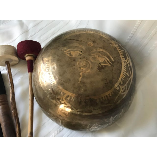 1970s Brass Tibetan Standing Bell Singing Bowl Set & Accessories - Set of 7 For Sale - Image 4 of 5