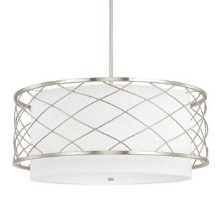 Large Pendant Drum Chandelier in Brushed Nickel With White Linen Shade Preview