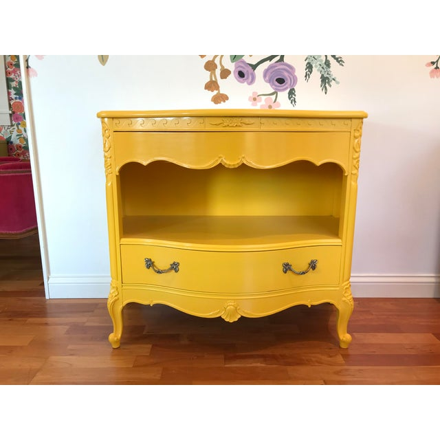 Louis XV Style Drexel Model 3211 Serpentine Front Yellow Paint Cabriole Leg Silverware Chest For Sale - Image 11 of 13