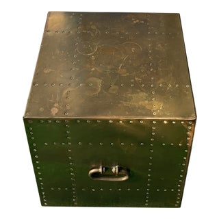 Brass Studded Cube Box Table For Sale