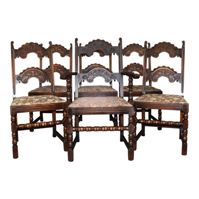 Vintage Solid Carved Dark Oak Jacobean Chairs- Set of 6 For Sale