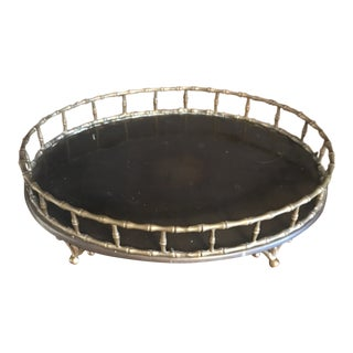 1980s Oval Brass Bamboo Tray For Sale