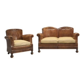 French Art Deco Leather Club Chair With Settee - 2 Pc. Set For Sale