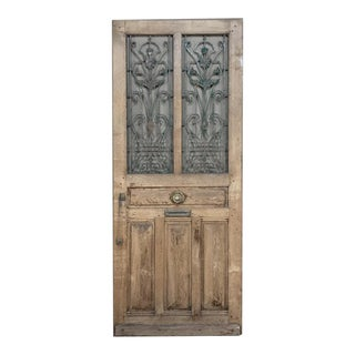 19th Century Oak Entry Door With Wrought Iron For Sale
