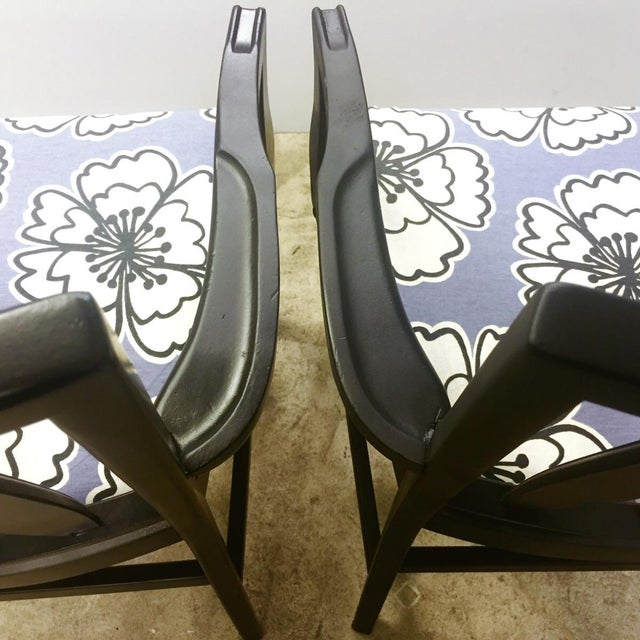 Vintage Black and Lavender Chairs - A Pair - Image 4 of 8