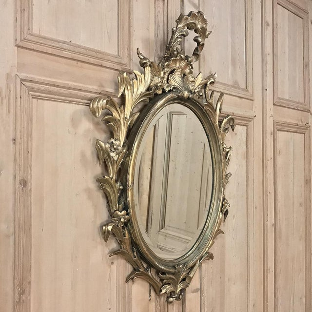 Baroque Antique Italian Baroque Carved Wood Gilded Mirror For Sale - Image 3 of 11