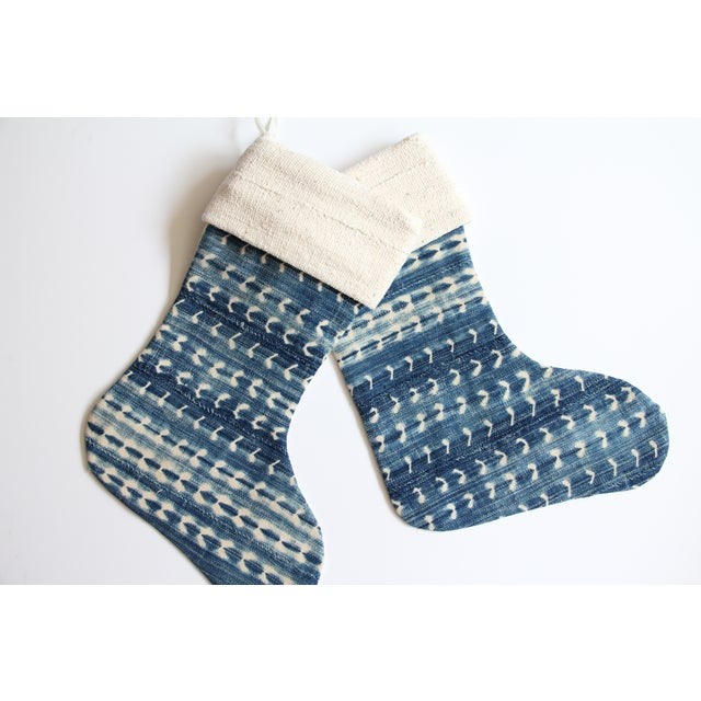 Vintage Indigo and Mudcloth Christmas Stocking - Image 5 of 6