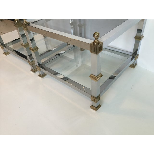 1970s Vintage Chrome & Brass Tables - Pair - Image 5 of 5