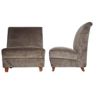 1930 Eugene Schoen Signed Slipper Chairs - A Pair