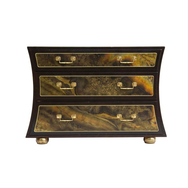 Chest Dresser in Acid-Etched Brass by Bernhard Rohne for Mastercraft For Sale - Image 6 of 13
