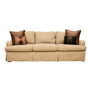 Robert Packer's Custom Editions Three-Seat Sofa With Silk Accent Pillows For Sale