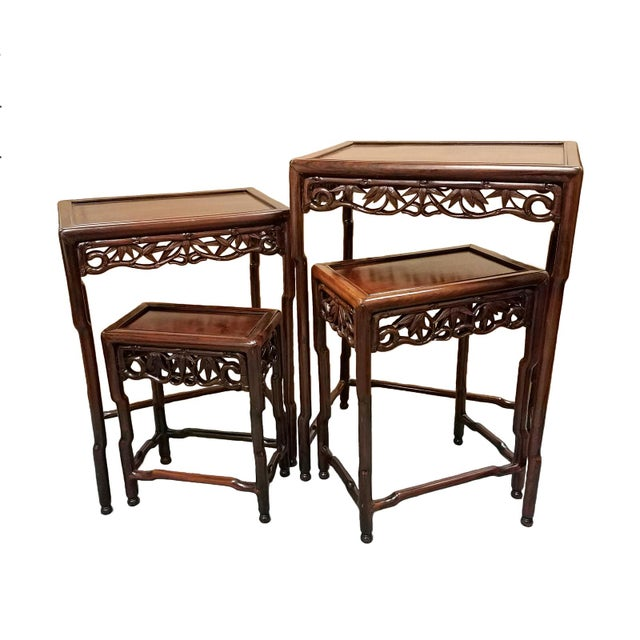 1900s Chinese Carved Hardwood Nesting Tables - Set of 4 For Sale - Image 4 of 6