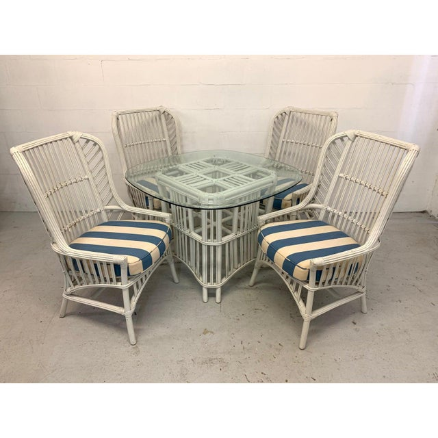 1970s Vintage Ficks Reed Rattan High Back Dining Chairs, Set of 4 For Sale - Image 5 of 5