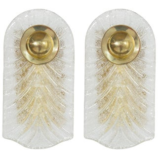 Italian Murano Glass and Brass Sconces - a Pair For Sale