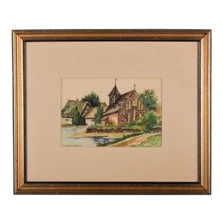 """""""Markische Dorfkirche"""" Watercolor Painting For Sale"""