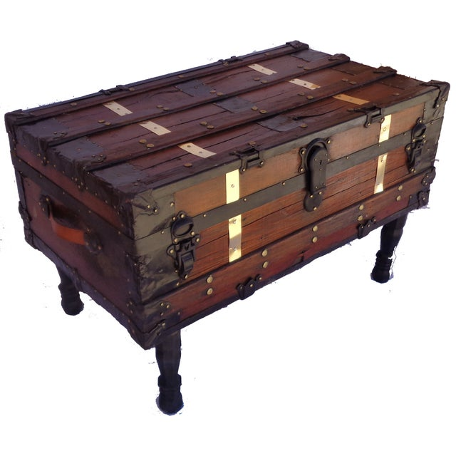 Antique Steamer Trunk/Coffee Table - Image 2 of 4