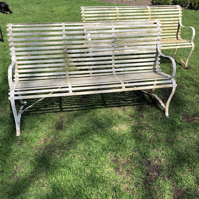 French French 1920's White Garden Benches - a Pair For Sale - Image 3 of 12