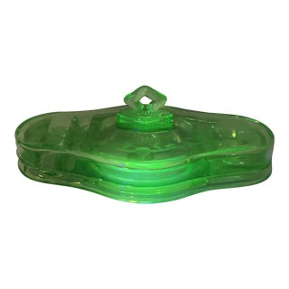 Antique, Etched, Green Uranium Glass Ink Well, Desk Set With Lid For Sale