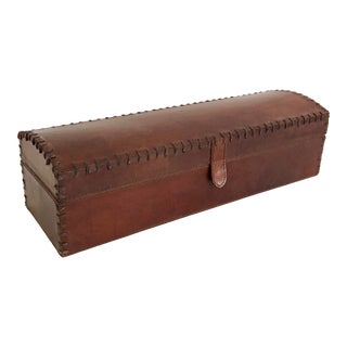 Tobacco Stained Leather Oblong Box For Sale