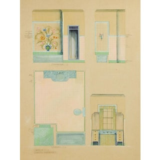 1920s Architect's Rendering for Bathroom For Sale