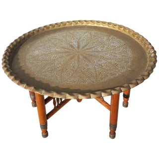 Moroccan Round Copper Tray Top Coffee Table With Wooden Folding Base For Sale